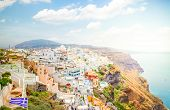 Townscape Of Thira, The Capital Of Santorini Island, Greece, Web Banner Format poster