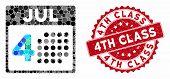 Mosaic Independence Day And Rubber Stamp Seal With 4th Class Text. Mosaic Vector Is Designed With In poster