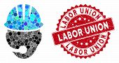 Mosaic Industrial Operator And Rubber Stamp Watermark With Labor Union Text. Mosaic Vector Is Formed poster