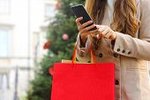 Shopper Woman Using Smart Phone For Shopping Online And Carrying Bags On Christmas Time. poster