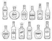 Alcohol Drink Bottles Sketch Icons, Bar Menu Drinks And Beverages. Vector Isolated Bottles Of Premiu poster