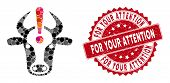 Mosaic Cow Error And Distressed Stamp Seal With For Your Attention Text. Mosaic Vector Is Formed Wit poster