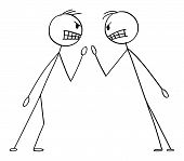 Cartoon Stick Figure Drawing Conceptual Illustration Of Two Angry Men Or Businessmen In Fight Argume poster