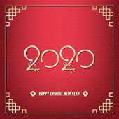 Happy Chinese New Year, Year Of The Rat Celebration, Gold 2020 Number With Rat Ears, Noses, Eyes And poster