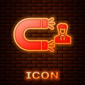 Glowing Neon Customer Attracting Icon Isolated On Brick Wall Background. Customer Retention, Support poster