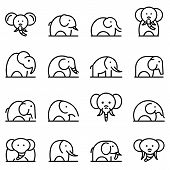 Elephant Icons Set. Outline Set Of Elephant Vector Icons For Web Design Isolated On White Background poster