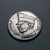 stock photo of hitler  - infamous dictator adolf hitler on coin - JPG