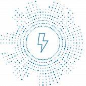 Blue Line Lightning Bolt Icon Isolated On White Background. Flash Sign. Charge Flash Icon. Thunder B poster