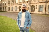 Casual And Comfortable. Hipster Lifestyle. Cool Hipster With Beard Wear Stylish Baseball Cap. Brutal poster