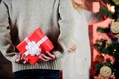 Prepare Surprise. Winter Surprise. Man Carry Gift Box Behind Back Defocused Background. Christmas Su poster