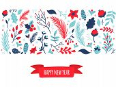 Cute Hand-drawn Set Of Winter Elements With Text Happy New Year. Nature Vector Illustration On Chris poster