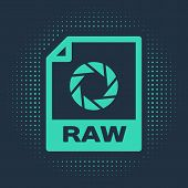 Green Raw File Document. Download Raw Button Icon Isolated On Blue Background. Raw File Symbol. Abst poster