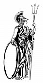 An Illustration Of The Mythological Greek Goddess Athena With A Trident Spear And Shield poster