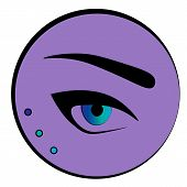 Female Blue Eye With Arrows And An Eyebrow On Violet Background. Fashion And Make Up Icon: An Eye An poster