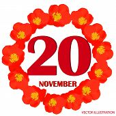 November 20 Icon. For Planning Important Day. Banner For Holidays And Special Days With Flowers. Twe poster