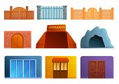 Entrance Icons Set. Cartoon Set Of Entrance Vector Icons For Web Design poster