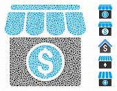 Market Icon Mosaic Of Joggly Parts In Different Sizes And Color Tones, Based On Market Icon. Vector  poster