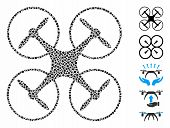 Quadcopter Icon Mosaic Of Uneven Elements In Various Sizes And Color Tinges, Based On Quadcopter Ico poster