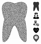 Tooth Icon Mosaic Of Rough Items In Different Sizes And Shades, Based On Tooth Icon. Vector Irregula poster