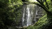Fantastic Morning With A Natural Waterfall And Sun Light In Forest Of Taiwan. poster
