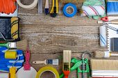 House Painter Tool On Wooden Background. A Lot Of Hand Tools. Background Mode. Construction Tool For poster