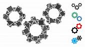 System Gears Icon Mosaic Of Trembly Parts In Variable Sizes And Color Tones, Based On System Gears I poster