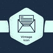 Grunge Line Mail And E-mail Icon Isolated On Blue Background. Envelope Symbol E-mail. Email Message  poster
