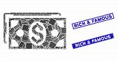 Mosaic Dollar Banknotes Pictogram And Rectangular Watermarks. Flat Vector Dollar Banknotes Mosaic Pi poster