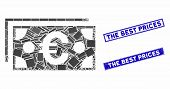 Mosaic Euro Banknotes Pictogram And Rectangle Seals. Flat Vector Euro Banknotes Mosaic Pictogram Of  poster