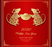 2020 Happy Chinese New Year Of Rat Holding Gold Ingot And Traditional Lattice Frame. Chinese Transla poster