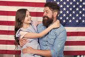 Father American Bearded Hipster And Cute Little Daughter With Usa Flag. Independence Is Happiness. I poster