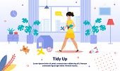 Home And Apartment Cleaning, Commercial Babysitter Service Trendy Vector Advertising Banner, Promo P poster