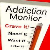 stock photo of overdose  - Addiction Monitor Shows Craving And Substance Abuses - JPG