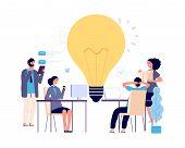 Teamwork Concept. Creative Idea, Working Process Vector Illustration. Flat Business Characters, Brai poster