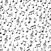 Musical Notes, Melodious Signs And Symbols Seamless Pattern. Black Musical Notes And Treble Clef On  poster