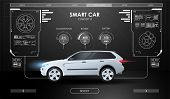Car Service In The Style Of Hud. Virtual Graphical Interface. Scanning Car, Analysis And Diagnostics poster