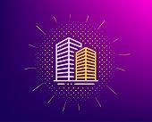 Skyscraper Buildings Line Icon. Halftone Pattern. City Architecture Sign. Town Symbol. Gradient Back poster