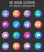 Account Icon Set. Account Web Icons On Round Trendy Gradients poster