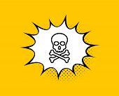 Chemical Hazard Line Icon. Comic Speech Bubble. Laboratory Toxic Sign. Death Skull Symbol. Yellow Ba poster