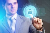 Security Services, Cybersecurity And Protection Concept.businessman Offer Padlock Symbol Of Security poster