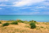 foto of stratus  - Sandy beach overlooking Lake Huron during spring in the Great Lakes - JPG