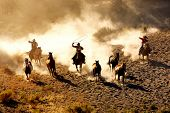 stock photo of lasso  - Cowboys chasing wilding horses - JPG