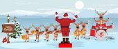 Santa Claus And Reindeers With Musical Instruments New Year Christmas Orchestra Concert On Winter La poster