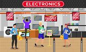 People Buying Electronic Devices On Sale. Electronics Shop With Customers And Product. Washing Machi poster
