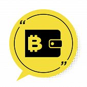 Black Cryptocurrency Wallet Icon Isolated On White Background. Wallet And Bitcoin Sign. Mining Conce poster