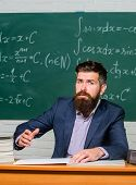Demanding Teacher. Get Out Of Class. Teacher Strict Serious Bearded Man Chalkboard Background. Teach poster