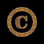 Premium, Elegant Capital Letter C In A Round Frame Is Made Of Floral Ornament. Baroque Style.elegant poster