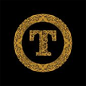 Premium, Elegant Capital Letter T In A Round Frame Is Made Of Floral Ornament. Baroque Style.elegant poster