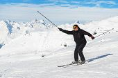 Senior Mature Happy Funny Skier Having Fun And Fooling Around At Winter Alpine Skiing Resort. Old Ag poster