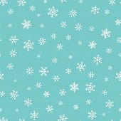 Vector Snowflakes Background. Simple Christmas And New Year Seamless Pattern With Snow, Different Sm poster